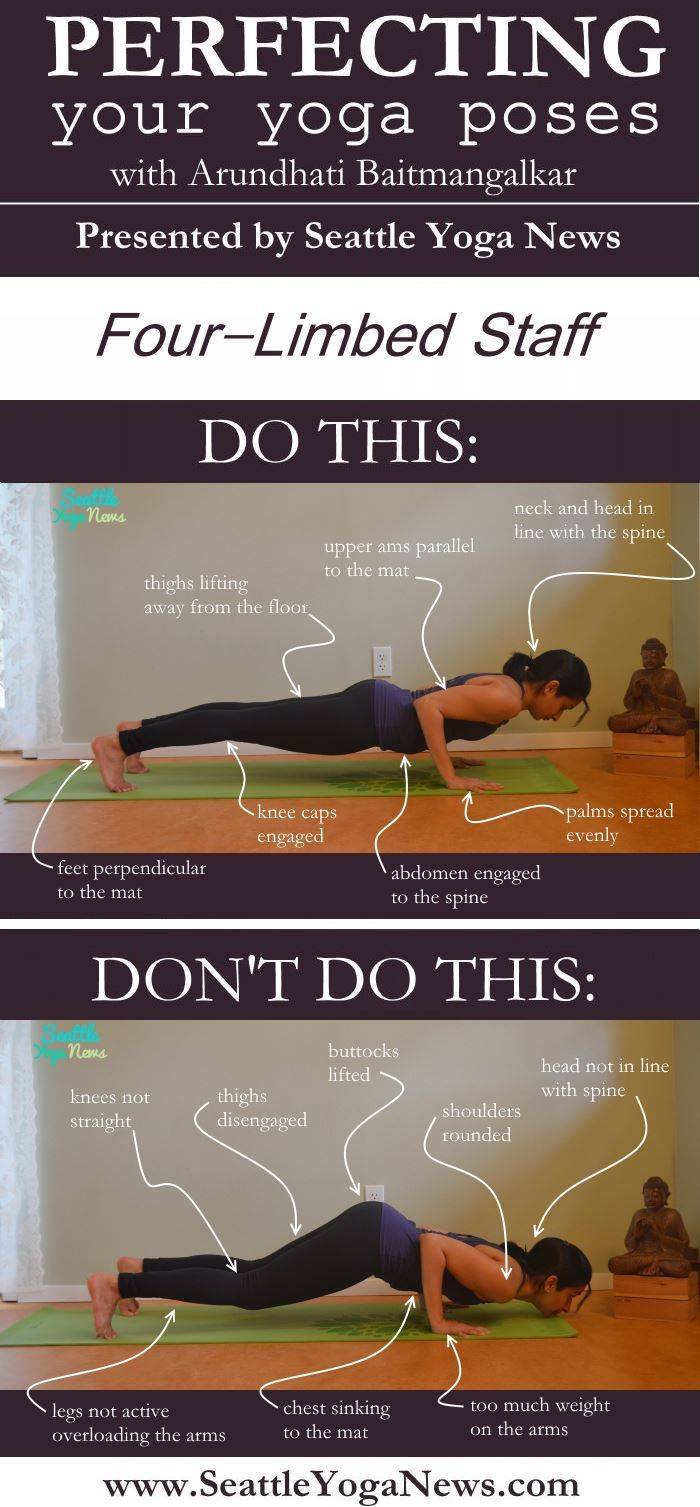 Struggling with Four Limbed Staff pose? Take a look at this Four Limbed Staff pose guide that visually explains what to & what not to do in this yoga pose.