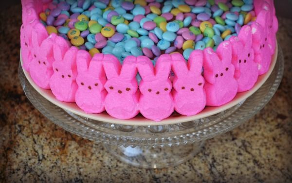 Easter Candy Cake with Peeps and MnM's
