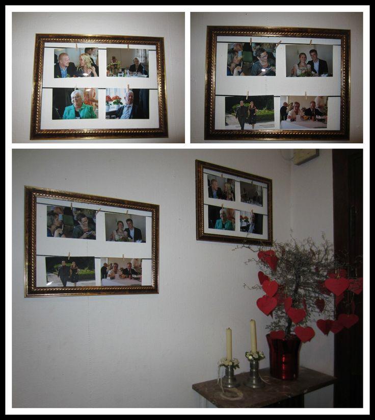 Satinbånd sat i gamlefotorammer. Billederne er hængt op  med små træklemmer.