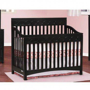"""$577.50-$759.99 Baby Simmons Callisto Crib n More (Black) - The Simmons Callisto Crib N More is a 4-in-1 crib with a three-position mattress support. The Simmons Callisto Crib N More is a crib, toddler bed, day bed andfull size bed featuring unique fret detailing. Daybed conversion rail included. Toddler guard rail and full size metal bed rails are sold separately. 53.94""""W x 48.27""""H x 29.92""""D {U ..."""