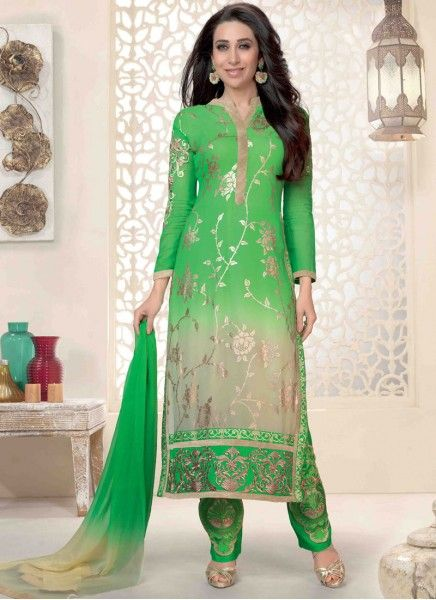 Colour: Green And Cream Collection : Karishma Kapoor, KSD106 Top Fabric : Georgette Bottom Fabric : Heavy Santoon Innar Fabric : Heavy Santoon Dupatta Fabric : Nazneen Top Length : 3.5 mtr Inner Length : 4.5 mtr Bottom Length : (4.5 mtr Dupatt Length : 2.25 mtr Work : Embroidered  Buy at Just RS.1799/-
