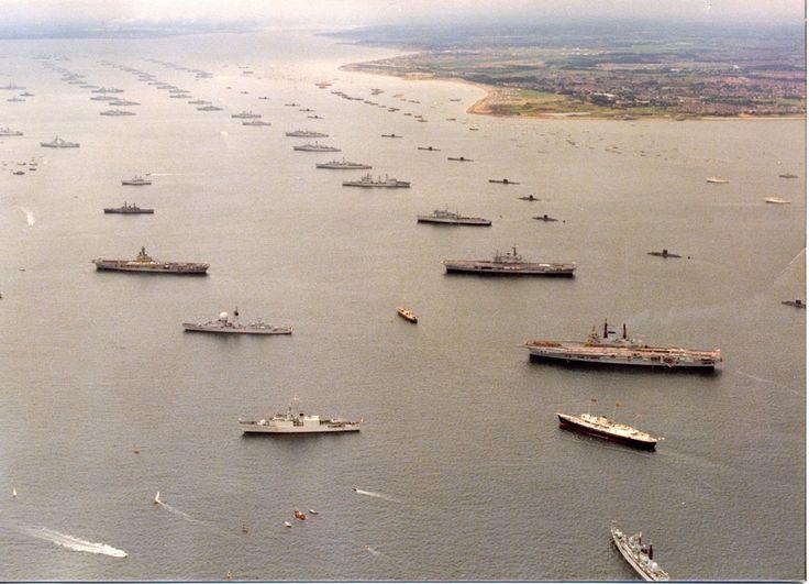 HMAS Melbourne at the Silver Jubille Naval revue, 1977... Left Middle
