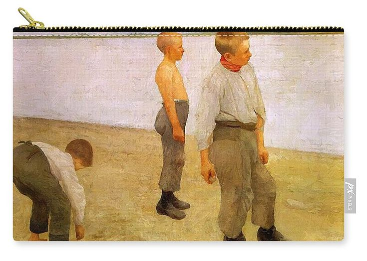 Boys Carry-all Pouch featuring the painting Boys Throwing Pebbles Into The River 1890 by Ferenczy Karoly