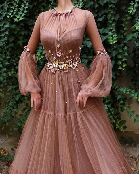 Sandstone color Handmade embroidered flowers sleeves wedding dressBall-gown style party and evening dress