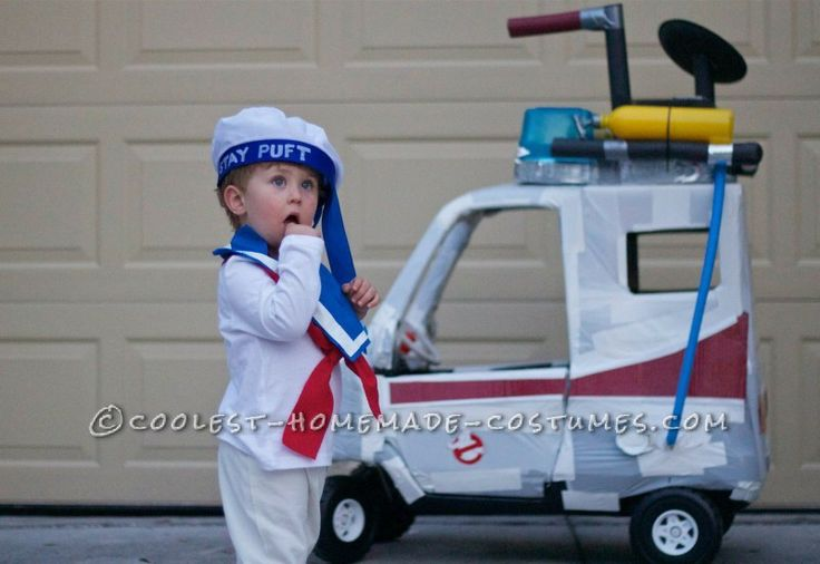 Toddler Stay Puft Marshmallow Man Ghostbuster Costume and Stroller Ghostbuster Mobile ... Halloween Costume Contest
