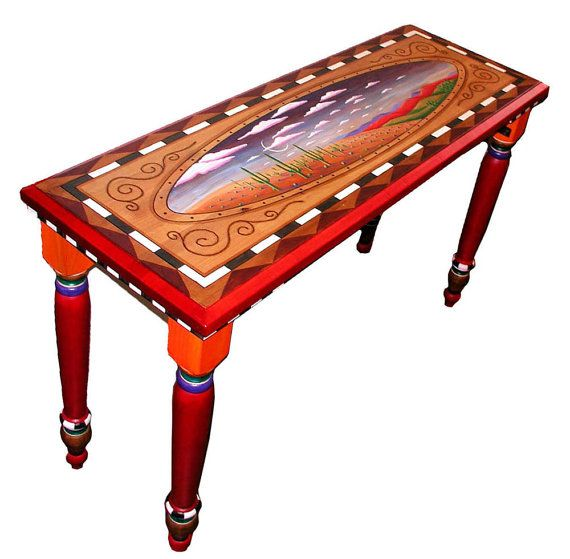 Hand painted Southwest Style Sofa Table by ChuckPetersonDesigns, $850.00