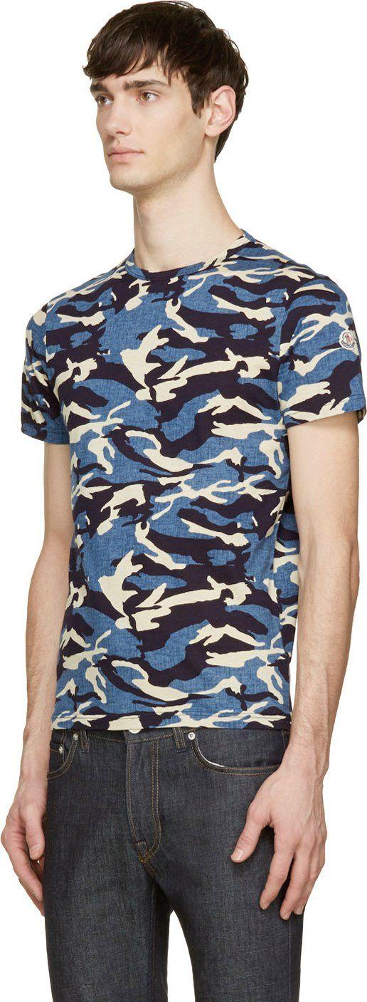 Moncler Blue Camouflage T-Shirt