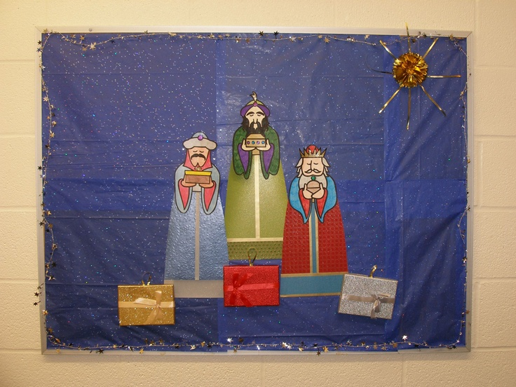 Epiphany Bulletin Board-Each gift opens to reveal a Bible verse.