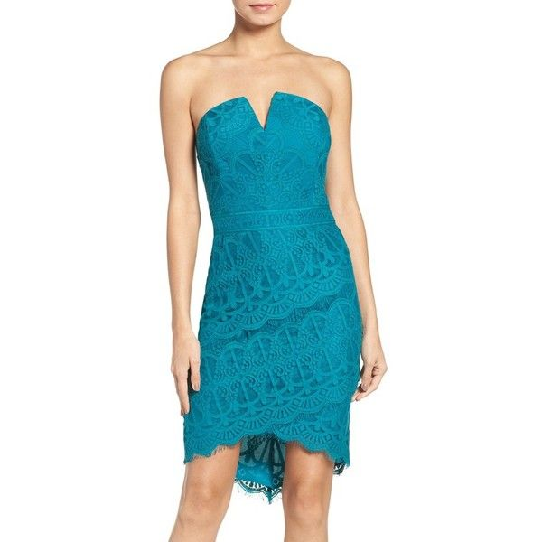 Women's Adelyn Rae Strapless Lace Dress ($108) ❤ liked on Polyvore featuring dresses, peacock, vintage style lace dress, strapless high-low dresses, blue strapless dress, peacock blue dress and vintage style cocktail dresses