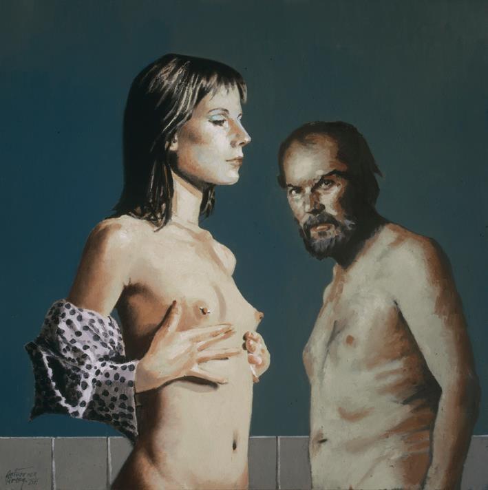 '' Hades and Persefone '' 2007, oleo/tela 70 x 70 by Arturo Ribera.(Pintor/Mexicano/1945)