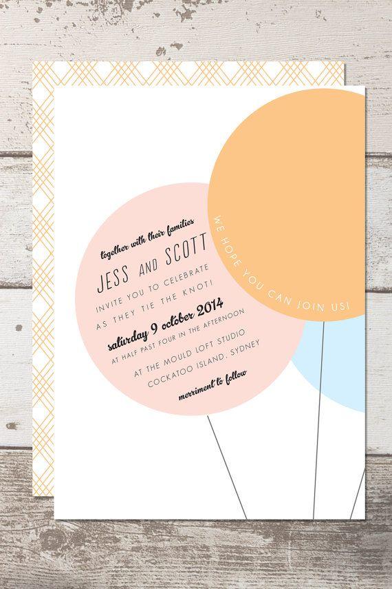Wedding Invitation Printable - Customisable - Hello Gelato - Balloons - Pastels on Etsy, $35.00 AUD