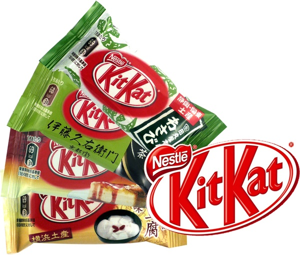 Just tried all these flavours of Japanese kitkats. Wasabi was a bit weird, but green tea (matcha), almond tofu (actually a kind of apricot flavour) and strawberry cheesecake were gorgeous. Wish I could try all the other crazy flavours!