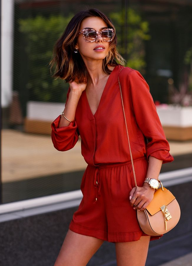 satchel bag with romper and gold watch