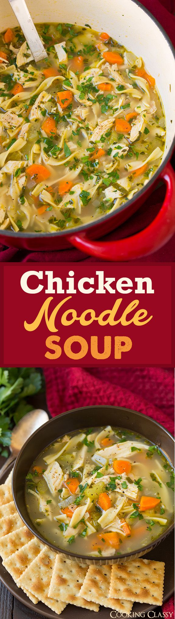 Chicken Noodle Soup - LOVE this recipe! My go to Chicken Noodle Soup recipe (sometimes I'll just use cooked chicken breasts instead of rotisserie chicken). The ultimate comforting dinner!