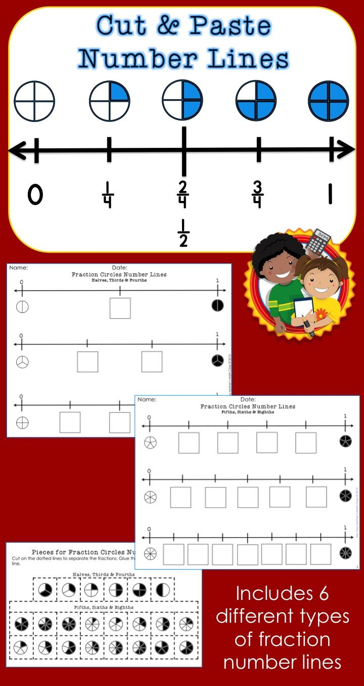Use these fraction number lines to help students practice identifying and comparing fractions. Six different sets of number lines are included: fraction circles, fraction numbers, equivalent fraction squares, equivalent fraction numbers, mixed numbers and improper fractions. $