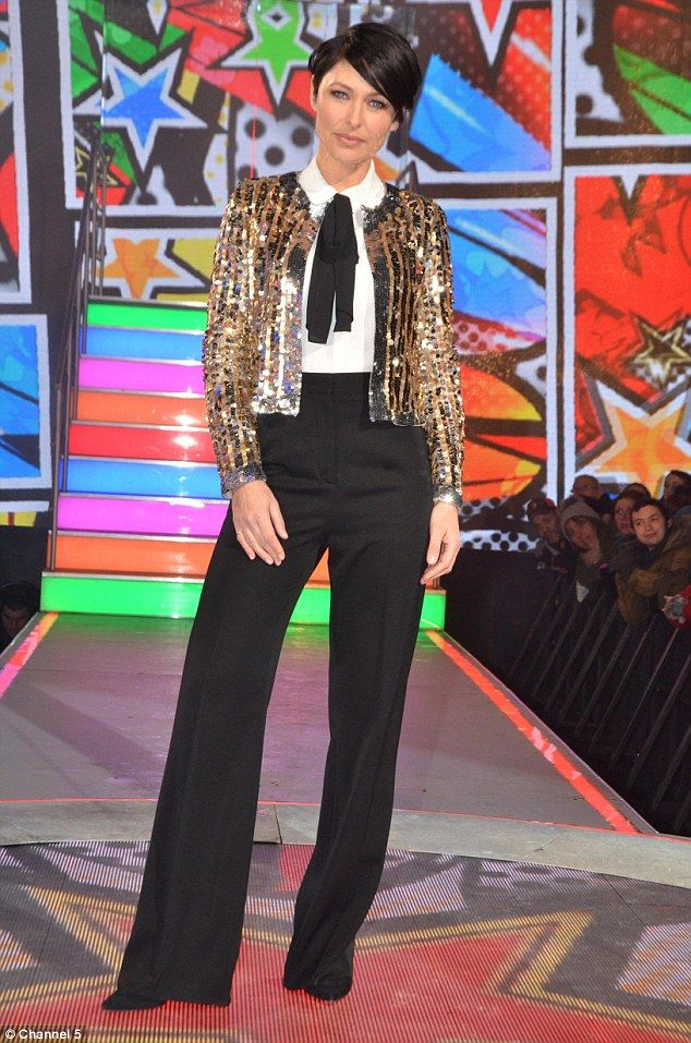 All that glitters: Emma Willis stood out from the crowd in a sparkling gold sequinned jacket on Tuesday night, as she presented Celebrity Big Brother: All Stars