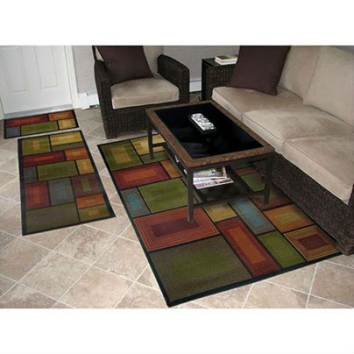 3 Piece Set Indoor Area Rug Accent Nylon Carpet Contemporary Living Dining Room RugsHome