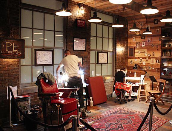 brick walls, dark flooring and look at the wood   beams and good lighting