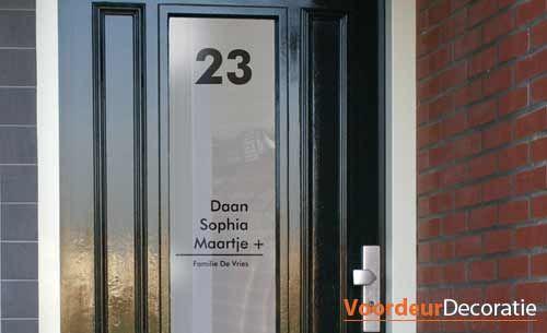 Voordeur raamfolie naam en huisnummer