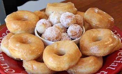 Donuts...made with refrigerated biscuits and only 5 other ingredients: oil for frying, butter, powdered sugar, vanilla, and milk!