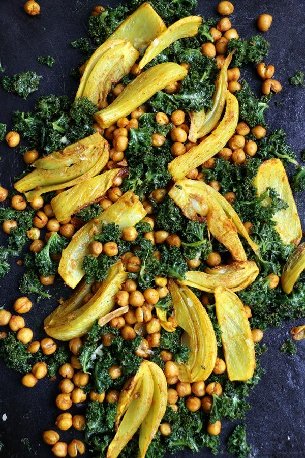 Turmeric Roasted Fennel, Chickpeas and Kale Salad - replaced lemon juice with soy & rice vinegar, and served with quinoa.  Decent.
