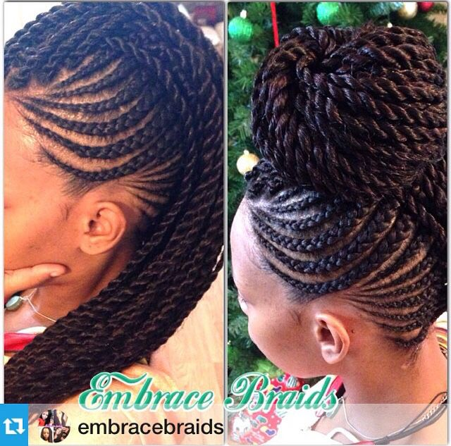 Senegalese twists in a Mohawk