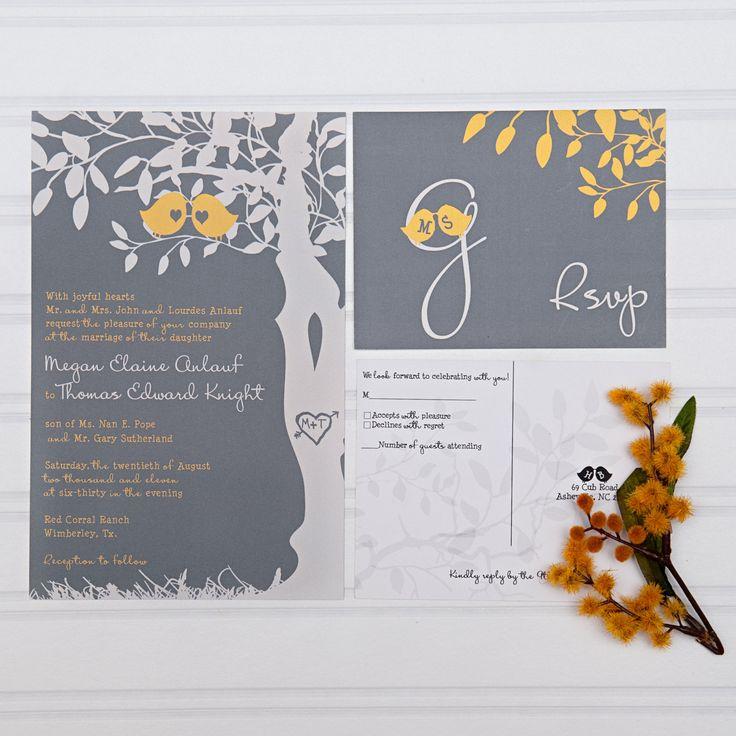 Yellow and Gray Wedding Invitations, Love Birds in a Tree Custom Invites Discount Wedding Invitations by InvitingMoments on Etsy https://www.etsy.com/listing/163634480/yellow-and-gray-wedding-invitations-love