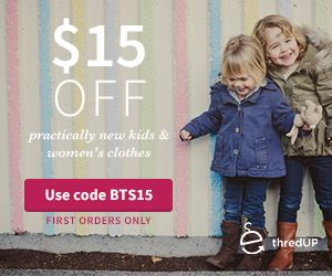 You Brew My Tea: $15 Off First Purchase At Thred Up. This site sells gently used clothing,  most of it under $10. I got 4 pieces of clothing and only paid $7. Including S & H. :-)