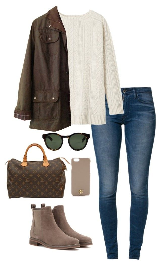 """ootd"" by kcunningham1 ❤ liked on Polyvore featuring Levi's, Toast, Barbour, Ahlem, Louis Vuitton, Tory Burch and Loro Piana"