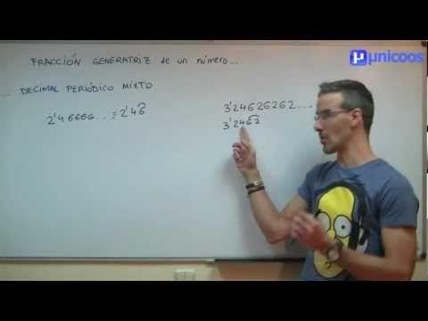 Fracción generatriz de un decimal periódico mixto