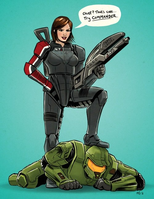 Commander Shepard from Mass Effect VS Master Chief from Halo - I love both of these games, but this made me laugh!