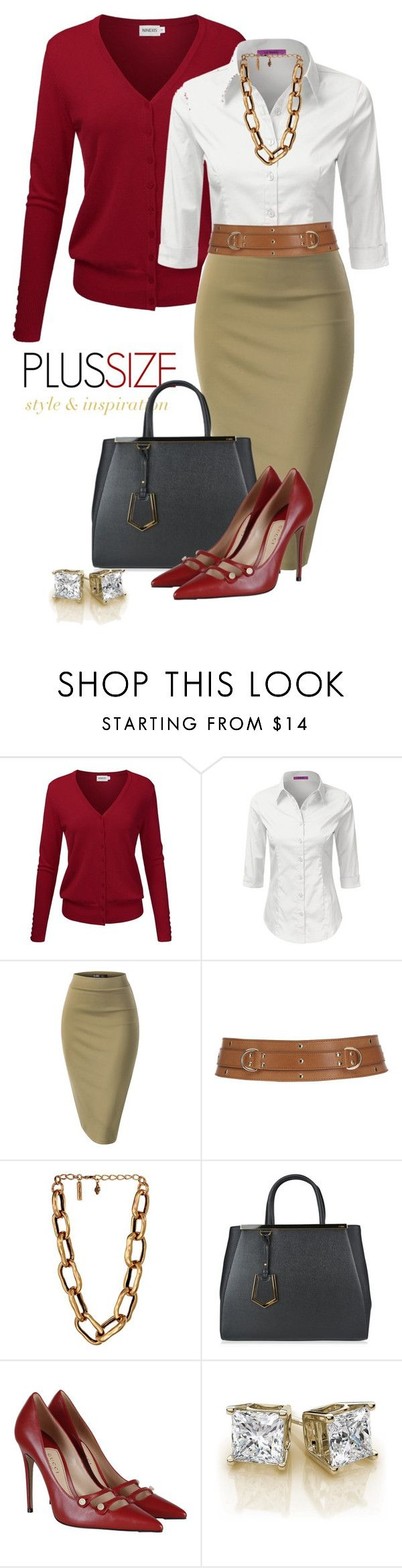 """""""Work Outfit -- #Plus Size"""" by kimberlyn303 on Polyvore featuring Belstaff, Oscar de la Renta, Fendi and Gucci"""