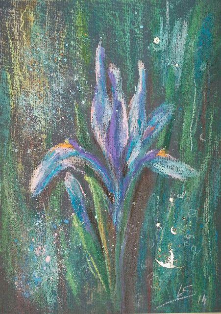 Original Pastel Painting: The Mysterious Iris