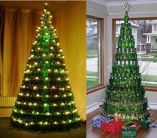 Alternative to the Traditional Christmas Tree  **********************************************  Recycled Bottle Tree   -     If you are the type that accumulates empty bottles (you know who you are!), put them to good use! The tree on the right is made of Grolsch bottles.
