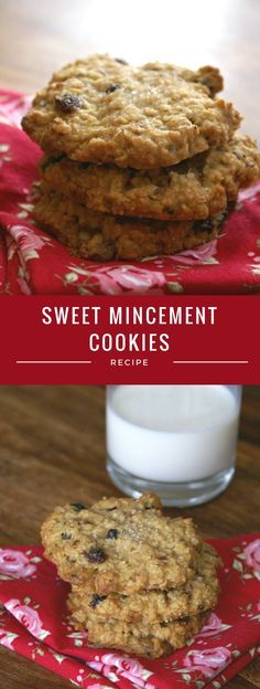 Sweet, oaty mincemeat cookies. A perfect way to use up any leftover mincemeat. Serve these Christmas mincemeat cookies with a glass of milk. A perfect festive treat.