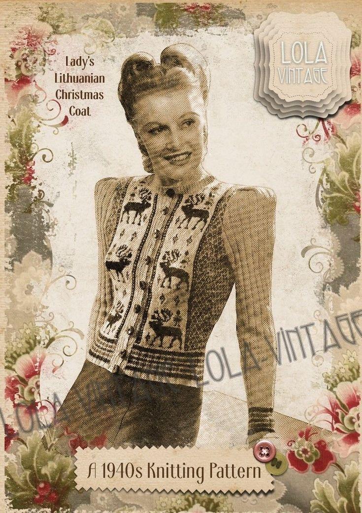Vintage 1940s Knitting Pattern Lady's Retro Stag Fair Isle Cardigan Coat 1950s | eBay