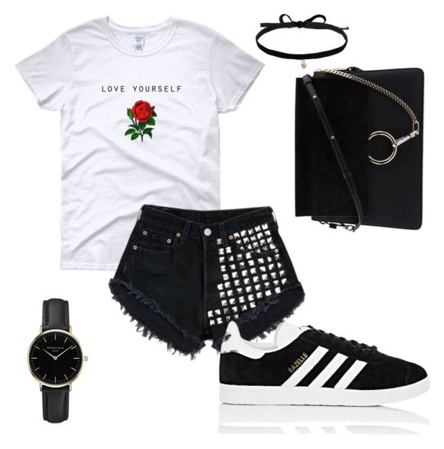 Black to black 🖤 by oliwiajankowska on Polyvore featuring polyvore, fashion, style, adidas, Chloé, ROSEFIELD, Joomi Lim, Levi's and clothing