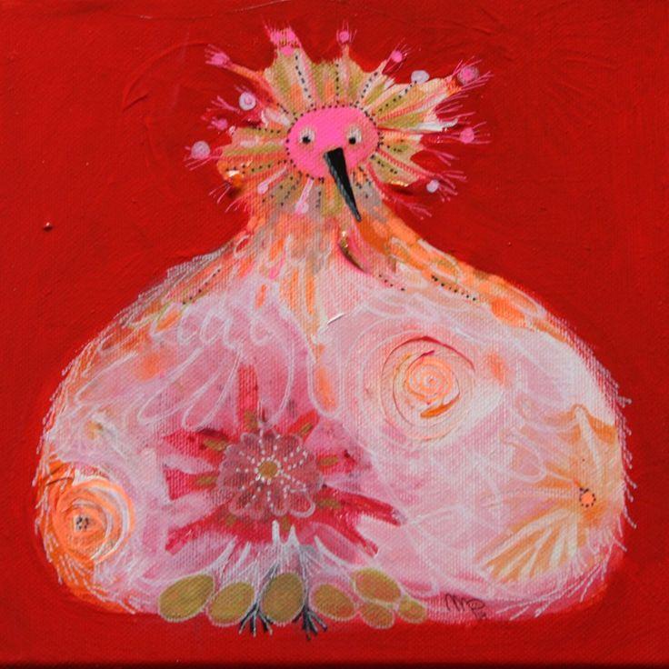 """""""gouden eieren""""acryl op doek 20x20cm 3d te zien bij Galerie www.delangenof.nl www.moniekpeek.nl"""