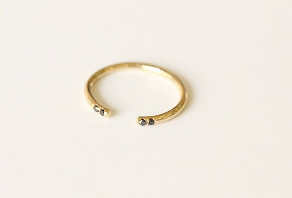 Black Diamond Knuckle Ring In Pave,14k Solid Yellow Gold Petite Black Diamond Open Ring,Dainty Stacking Knuckle Gold Ring,Diamond Cuff Ring