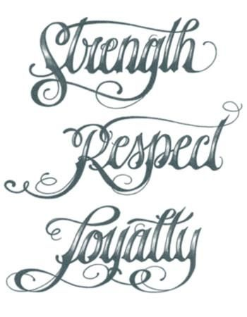 Strength Respect Loyalty Script Tattoo