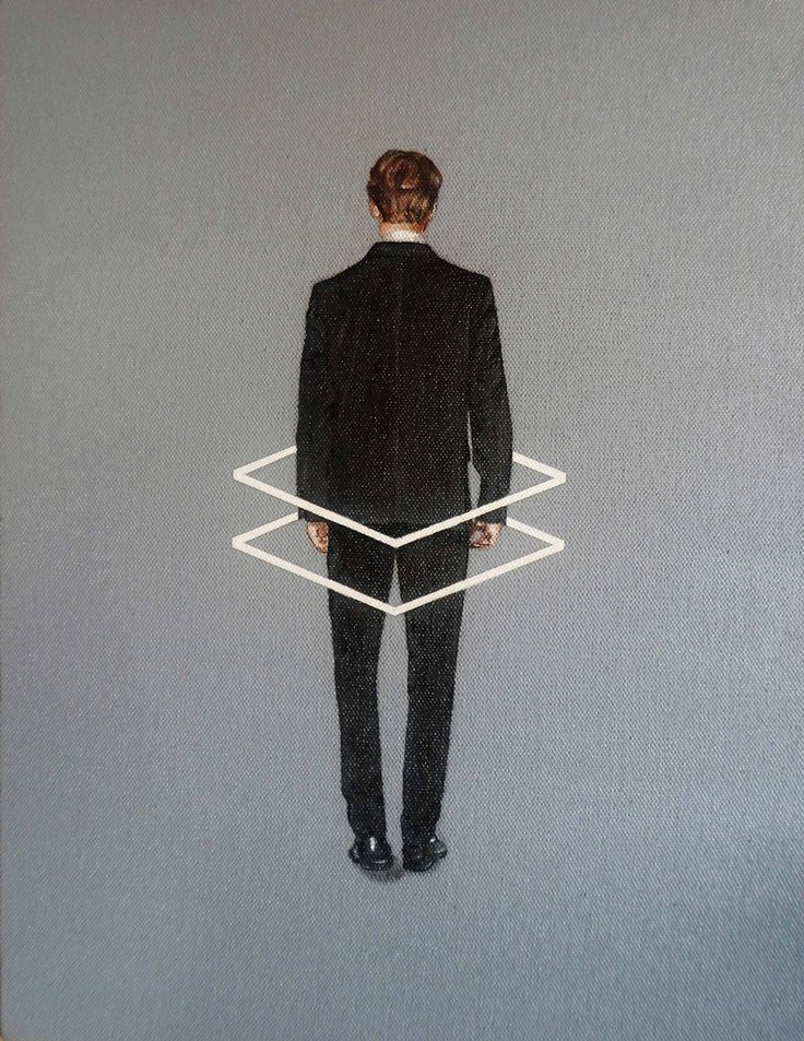 """""""hombre de espaldas"""", de la serie, """"Human Behavior"""" . acrílico y oleo sobre tela. 30x40 cms."""