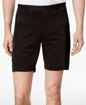 Calvin Klein Men's Slim-Fit Mixed Media Shorts - Black 38