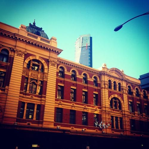 This is Melbourne! What a beautiful city. Flinders Street station with the awesome Eureka tower behind it.