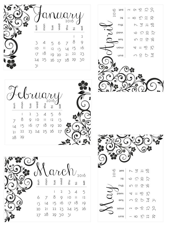 Free 2016 Black and White Floral Calendar Cards from scrappystickyinkymess