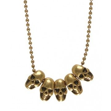 Hultquist-Copenhagen Mini Skull Gold Necklace  Dainty & fine is this delicate necklace from Hultquist-Copenhagen's Mini Skull collection.  Five small gold plated mini skull charms are featured on a 42cm baby ball chain necklace.  Completed with a lobster clasp & extender. Skull charms are 0.8cm in length x 0.5cm wide.