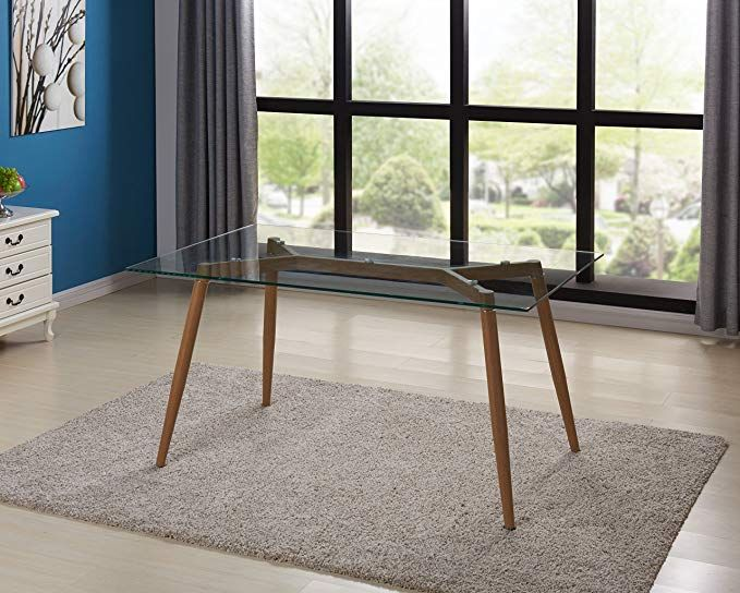 Amazon Com Ids Online Mlm 18608 T Mid Century Glass Dining Table