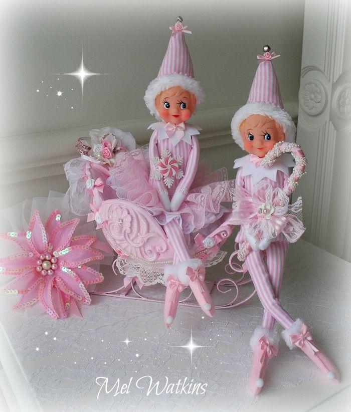 Mr & Mrs Candy Cane Vintage elves remade in pink <3