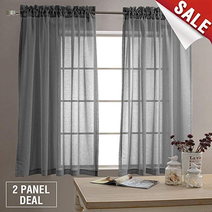 Amazon Com Sheer Curtains For Living Room Rod Pocket Grey Curtain Panels For Bedroom 63 Inch Length Voile C Curtains Living Room Panel Curtains Voile Curtains