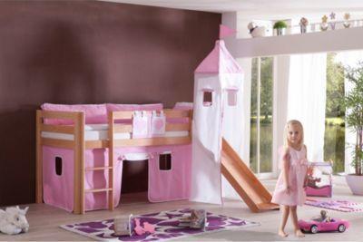 Relita Spielbett mit 3tlg. Stoffset rosa/weiß, Buche massiv natur lackiert Jetzt bestellen unter: https://moebel.ladendirekt.de/kinderzimmer/betten/hochbetten/?uid=1add1be4-1738-51d3-9d4d-86b3bcd815aa&utm_source=pinterest&utm_medium=pin&utm_campaign=boards #kinderzimmer #kleinkindmöbel #hochbetten #betten
