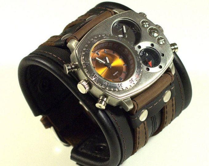 Steampunk Uhr genietet schwarze und braune Lederarmband, Herren Leder Armbanduhr, Männer, Jahrestag Geschenk, Custom Leder Uhr Highlander